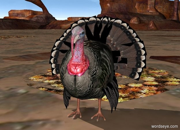 Input text: The turkey is in the straw.