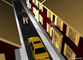 a first house.a second house is 2 feet left of the first house.a third house is 2 feet left of the second house.a street is in front of the first house.the street is facing left.the street is 200 feet long.a car is -9.5 feet in front of the road.the car is facing left.a fourth house is in front of the road.a fifth house is 1 feet left of the fourth house.a 7 feet tall tiger is 16 feet left of the car.the tiger is facing the car.a large sun symbol is -5 feet above the tiger.a 40% white light is 12 inches above the tiger.it is night.a 55% white light is 1 feet right of the tiger.a 20% yellow light is 6 inches left of the car.