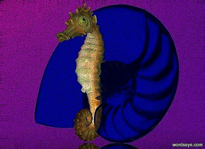 a 100 inch tall clear blue shell.a 100 inch tall seahorse is -20 inch in front of the shell.sky is [ikb191].ground is clear.sun is rust.ambient light is forget me not blue.