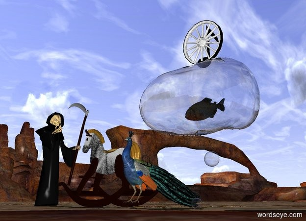 Input text: a large fish is in a large bubble. it faces a large toy. the large toy is left of the bubble. it faces the grim reaper. the grim reaper faces the fish. the bison texture is on the toy. a wheel is on the bubble. it faces the toy. a note behind the wheel. a  bird is right of the toy.