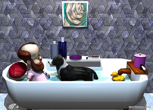 Input text: a tub. a dog fits inside the tub. a 2 foot tall professor is -.5 foot in front of the dog. the professor is facing back. a 1st blue tile wall is to the left of the tub. it is facing right. the ground is shiny white. a forget me not blue rug is to the right of the tub. a 1 foot tall and 2 inch wide and 2 inch deep water squid is -1.5 feet above and -1 foot behind the tub.it is upside down. a 4 inch wide water lake is behind the dog. a 2nd blue tile wall is 5 feet behind the tub. a 6 inch tall and 5 inch wide and 5 inch deep fuchsia candle is -2 inches above and -5 inches behind the tub. a 1st 1 inch tall and 6 inch wide and 2 foot deep white cube is -6 inches above and 5 inches to the left of the dog. a clear fuchsia soap bar is 0 inches above and -3 inch to the right of the cube. it is facing right. a 1st clear blue 8 inch tall and 4 inch wide and 4 inch deep cylinder is 1 inch in front of the bar. a 2nd 2 inch tall and 1.5 inch wide cylinder is above the 1st cylinder. a 3rd 7 inch tall and 3.5 inch wide and 3.5 inch deep baby blue cylinder is in front of the 1st cylinder. a 4th 1 inch tall and 1.5 inch wide and 1.5 inch deep cylinder is above the 3rd cylinder.   a 1 foot tall and 1 foot wide painting is 1.2 feet above the cube. it is 0 inches to the right of the 1st wall. it is facing right. it is 1 foot wide [snail].  a 2nd 1 inch tall and 1.9 foot wide and 4.5 foot deep water circle is -1 feet above the dog.  the sun is beige. a beige rose light is 3 feet above the dog. a forget me not blue light is 10 feet above the rug. the camera light is dim. a tiny light is 1 inch to the left of and -1 inch in front of the dog. a small toy is 0 inches above and -1 foot behind and -1 foot to the right of the circle.  a .5 foot tall and 1 foot wide and .6 foot deep [stained glass] egg is -.5 foot in front of and -1.3 feet above the professor. a razor is 2 inches behind the soap. it is leaning 90 degrees to the front.