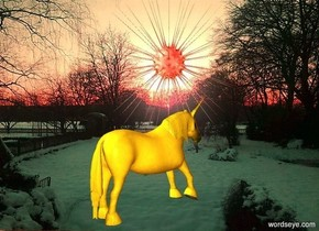 a 850 inch wide and 610 inch tall [KAWE56] wall.a 310 inch tall red sun symbol is -330 inch above the wall. the sun symbol is in front of the wall.ambient light is 50% dim old gold.a 250 inch tall   grasshopper green unicorn is -500 inch above the wall.the unicorn is facing northeast.the unicorn is in front of the wall.the sun symbol is -550 inch right of the wall.