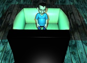 There is a couch 3 feet in front of a buffet. The couch faces the buffet. 3 feet Behind the buffet is a enormous wall. The buffet is 2 feet tall. The buffet is black. On the buffet is a tv. in front of the tv is a  very big cyan light.On the couch is a small boy. It is night. The ground is wood.