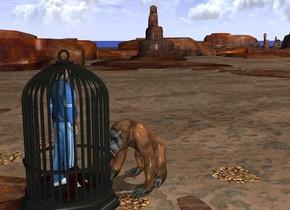 there is a big orangutan. The orangutan faces a man. The man faces the orangutan. the man fits in an enormous cage.