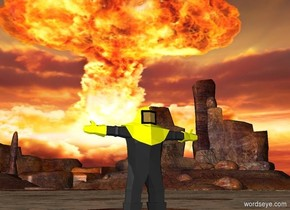 garb. its body is yellow. its helmet is yellow. its glove is yellow. the sky is [abomb].  [abomb] is 5000 feet tall.