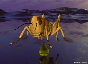 a 40 inch tall grasshopper.ground is clear.a 20 inch tall yellow drop is -50 inch above the grasshopper.