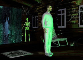 [light]house.a man is -15 feet in front of the house.the house's window is clear.the man is white.a [dark] wall is 12 feet behind the man.two green lights are 2 feet in front of the man.a skeleton is right of the wall.the skeleton is facing southwest.a cat is 4 feet right of the man.the cat is facing the man.a 3 feet tall web is above the skeleton.a 4 feet tall web is 2 feet above the cat.the 4 feet tall web is 12 inches right of the cat.a grey rocking chair is 1.5 feet behind the cat.the 4 feet tall web is facing the man.a painting is left of the man.the painting is face up.the painting is 1 feet behind the man.