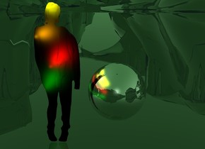 a 100 inch tall black flat woman.sky is 80% dim malachite green.ground is clear.ten   yellow lights are -10 inch left of and -7 inch above the woman.ambient light is gold.ten   red lights are -15 inch left of and -50 inch above the woman.ten   green  lights are -7 inch left of and -70 inch above the woman.eight   orange  lights are -6 inch left of and -29 inch above the woman..the woman is facing north.a 40 inch tall silver sphere is 5 inch right of the woman.the sphere is -80 inch above the woman.
