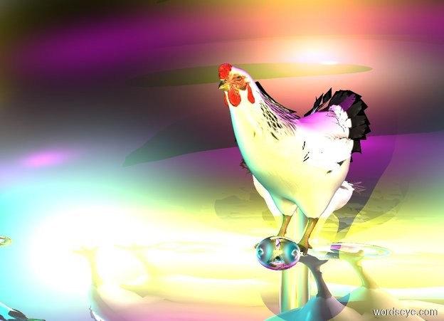 Input text: a 1st 10 foot tall silver egg. a chicken is -5 feet above the egg. a yellow light is 1 foot in front of the chicken. a pink light is 1 foot to the right of the chicken. a cyan light is 1 foot to the left of the chicken. the chicken is facing southwest. a fuchsia light is 1 foot above the chicken. a 2nd silver egg is in front of the chicken.