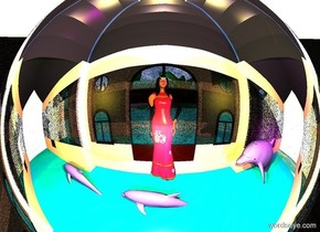 building. a silver sphere is -10 feet above the building. 2 lemon lights are in front of the sphere. 2 pink lights are behind the sphere. a person is -2.5 feet in front of the building. the person is facing back. the person's hair is black. her shirt is pink. her eye is brown. a 1st small mauve dolphin is 1 foot behind the person. it is 1 foot in the ground. it is facing left. a 2nd small mauve dolphin is 1 foot to the left of the first dolphin. it is .6 feet in the ground.  it is facing left. a 3rd mauve dolphin is 1 foot to the right of the 1st dolphin. it is 1 foot in the ground. it is facing left. a tiny fuchsia light is above the 3rd dolphin. the building's window is gold.