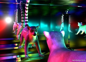 a silver tomb.a lemur is -2 feet above the tomb.three cyan lights are 6 inches left of the lemur.three red lights are 6 inches right of the lemur.three yellow lights are beneath the lemur.three green lights are 2 inches above the cyan lights.two blue lights are 2 inches above the red lights.