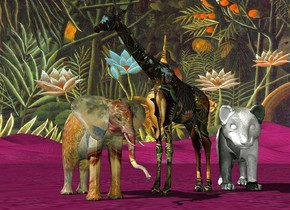 a 50 inch tall [painting] elephant.a 100 inch tall [forest] giraffe is -30 inch right of the elephant.the giraffe is facing the elephant.sky is 3000 feet wide [forest].ground is lilac.a 50 inch tall [painting] tiger is -15 inch right of the giraffe.the tiger is facing southwest.camera light is  gray.