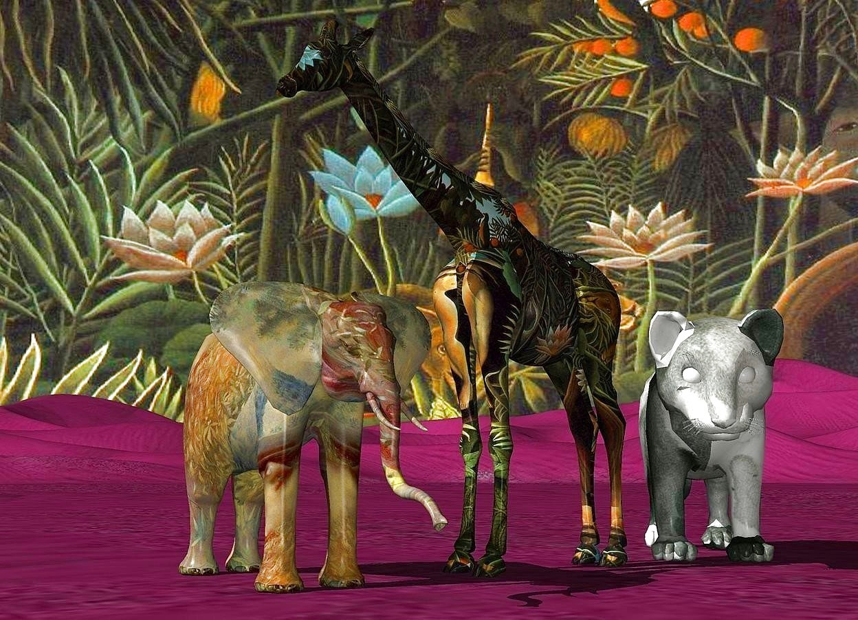 Input text: a 50 inch tall [painting] elephant.a 100 inch tall [forest] giraffe is -30 inch right of the elephant.the giraffe is facing the elephant.sky is 3000 feet wide [forest].ground is lilac.a 50 inch tall [painting] tiger is -15 inch right of the giraffe.the tiger is facing southwest.camera light is  gray.