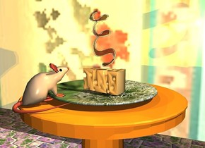 a large cheese is on a large [flower] plate.  it faces left. the plate is on a table. a [pattern] wall is 2 feet behind the table. the ground is [tile]. a mouse is 0.2 feet in front of and -0.52 feet left of and -0.53 feet above the cheese. it faces northeast. it leans 10 degrees to the back. a small clear resin green xi is above the cheese. it leans right. 2 dim daffodil yellow lights are behind the xi. the sun's azimuth is 220 degrees. 2 dim orange lights are 2 inches in front of the cheese.