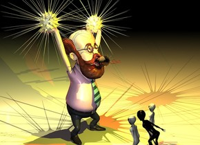 a man.a 1.5 feet tall lightbulb is -23 inches above the man.the lightbulb is face down.the lightbulb is -6 inches in front of the man.a first sun symbol is -22 inches above the man.the first symbol is -26 inches left of the man.the first symbol is -45 inches in front of the man.a second sun symbol is -22 inches above the man.the second sun symbol is -27 inches right of the man.the second sun symbol is -42 inches in front of the man.a yellow light is -2 inches in front of the lightbulb.a 0.6 feet tall sun symbol is -12 inches in front of the lightbulb.a red light is above the 0.6 feet tall symbol.it is night.a first 50% yellow light is above the first symbol.a second 50% yellow light is above the second symbol.a 50% red light is 5 feet behind the man.  three small aliens are 2 foot in front of the man. they are facing back.