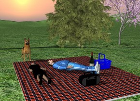 A big blanket is on the ground. The ground is grass. 1 feet Behind the blanket are 3 trees. On the blanket is a first person facing up. On the left of the first person is a second person facing up. On the right of the first person is a  basket. Next to the basket is a big bottle. in front of the first person is a radio. 2.5 feet behind the second person is a dog.