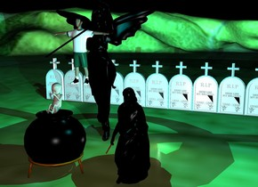 There is a big black angel. 1 feet  In front of the angel is a  long  black stick. The stick is leaning 60 degrees to the left. The stick is 7.5 feet above the ground. In front of the angel is a boy. The boy is 5.5 feet above the ground. 2 feet in front of the angel is a black cauldron . The cauldron  is 4 feet tall. Above the cauldron  is an very big baby. 10 feet behind the angel are 10 big gravestones. The ground is grass. There is a first cyan light  above the angel. A second cyan light is above the baby. It is night. There is a first dimmed light on the right of the angel. a second dimmed light is on the right of the angel.  a   black statue is 2 feet on the right of the cauldron. There is a small stick on the left of the black statue. The stick is 2 feet above the ground. The stick leans 70 degrees to the back. The stick is [texture]