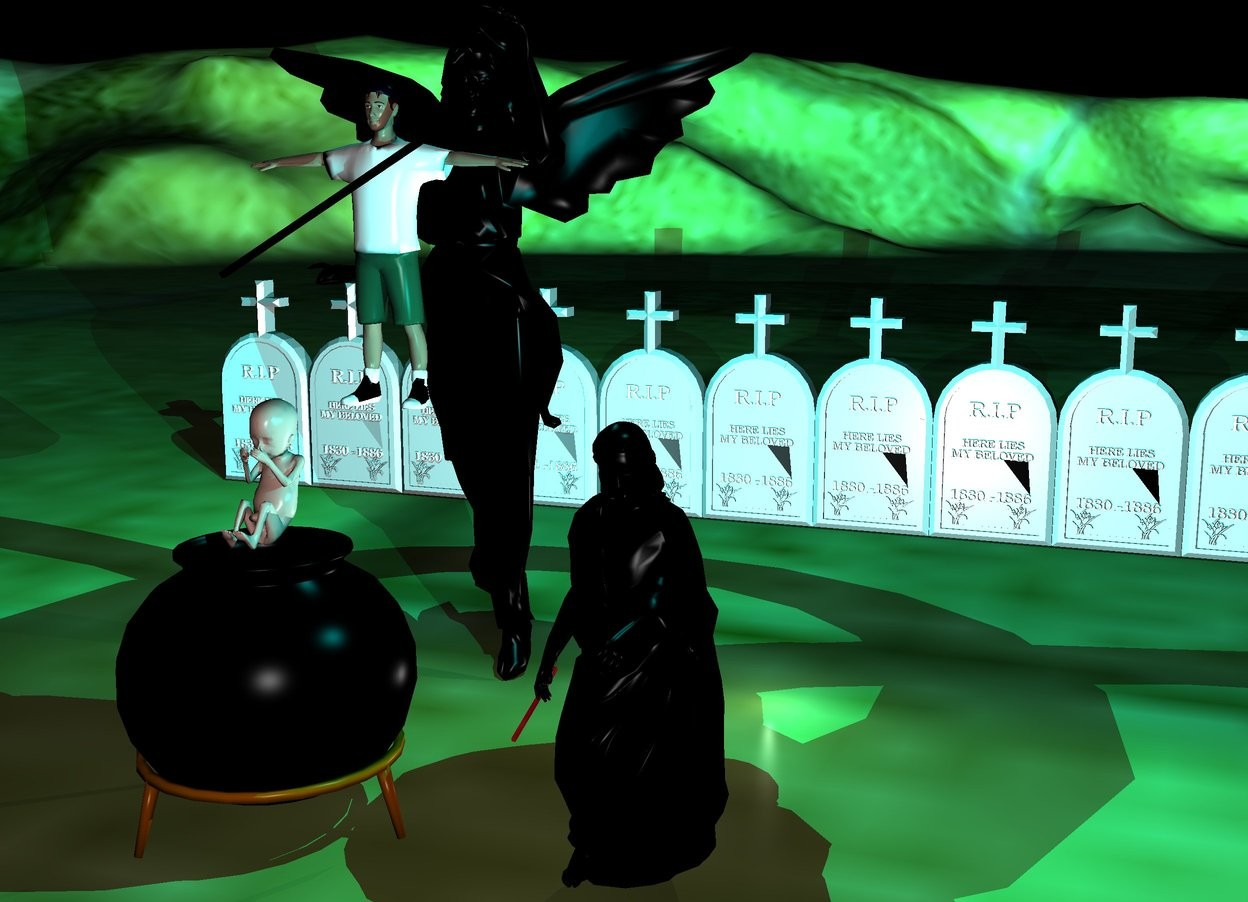 Input text: There is a big black angel. 1 feet  In front of the angel is a  long  black stick. The stick is leaning 60 degrees to the left. The stick is 7.5 feet above the ground. In front of the angel is a boy. The boy is 5.5 feet above the ground. 2 feet in front of the angel is a black cauldron . The cauldron  is 4 feet tall. Above the cauldron  is an very big baby. 10 feet behind the angel are 10 big gravestones. The ground is grass. There is a first cyan light  above the angel. A second cyan light is above the baby. It is night. There is a first dimmed light on the right of the angel. a second dimmed light is on the right of the angel.  a   black statue is 2 feet on the right of the cauldron. There is a small stick on the left of the black statue. The stick is 2 feet above the ground. The stick leans 70 degrees to the back. The stick is [texture]