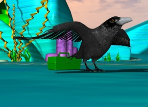 "medium green box behind huge crow. hidden very tiny ""N 51 45.999 E0 46.888"" 20 inches in front of crow"