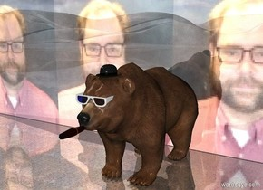 The ground is shiny carpet. There is a bear. There are 1 pair of large eyeglasses -18 inches in front of the bear. The pair of eyeglasses is -14 inches above the bear. There is a hat -4 inches above the bear. The hat is -25 inches in front of the bear. There is a big cigar  -4 inches in front of the bear. The cigar is -23 inches above the bear. The shiny brick wall behind the bear. The brick wall is 30 feet wide. The wall is [Craig].