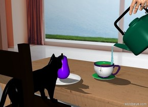 a table. a plate is above and -1 foot in front of the table. an eggplant is on the plate. a large teacup is behind and to the right of the plate. a chair is in front of the table. it is facing the table. a black cat is on the chair. it is facing the table. a large tea kettle is above and -.5 foot behind and -.7 foot to the right of the teacup. it is facing back. it is leaning 45 degrees to the left. a water squid is .8 foot tall and 1 inch wide and 1 inches deep. it is -.3 foot above and -.3 foot to the right of the cup. it is upside down. a 2 inch tall and .2 inch wide and .2 inch deep tan worm is -2 inch above and in front of the cup. a 1 inch tall and 1 inch wide and .1 inch deep [tea] cube is -2.5 inches above the worm. a 4 inch wide golden brown circle is -1.1 inches above the cup. a [room] wall is 2 feet behind the table.  a large beige rose hand is -.5 feet above and -1 feet to the right of and -.5 feet in front of the tea kettle. it is facing left.