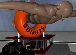 A donut shop is 3 feet in front of a 5000 feet long first street. The street faces right.  The ground is pavement.  In front of the donut shop is a second street. The second street faces right. On the second street is a car. an enormous man is -15 feet above the donut shop. The man faces down.the man is -80 feet behind the donut shop.the man is facing southeast..