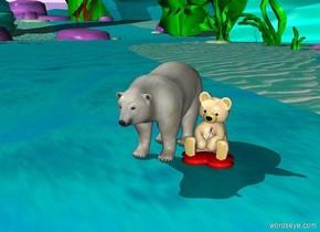 a big bear is beside a big bear