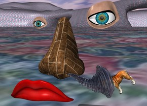 the large nose is 2 inches above the ground. the [brick] texture is on the nose. the texture is 2 inches tall. the very enormous eye is 20 feet behind the nose. another enormous eye is 5 feet to the left of the eye. the mouth is 2 inches in front of the nose. a extremely tiny dog is 1 inch to the right and -6 inches above the nose. it is facing the nose. it is leaning 40 degrees to the front.  the clear tornado is -1 inches in front and -1 inches to the right of the nose. it is 3 inches tall. it is upside down. it is leaning 90 degrees to the right. it is -5.3 inches above the nose.  the pattern ground.
