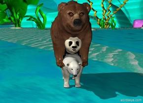a big panda is inside a big polar bear. A big brown bear is inside a big panda.