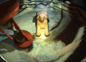 a sand sphinx is to the right of and -10 feet in front of an extremely gigantic hourglass. the sphinx is facing back. a  100 foot tall silver sphere is 5 feet above and 10 feet behind the sphinx. the sun's altitude is -10 degrees.  a dim copper light is behind the sphinx. a gold light is 5 feet behind and above the sphinx. the ground is renoir.