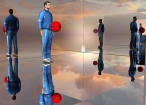 There is a man 3 feet in front of a first silver wall. There is a second silver wall on the right of the first wall. It faces right. There is a third silver wall on the left of the first wall. It faces right. The ground is silver. In front of the men is a first red ball. The ball is 3 feet above the ground.
