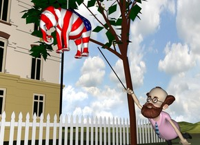 the man is 2 feet to the right of the tree. the very small [flag] elephant is above and 3 feet in front of the man. the tube is -2 inches above the elephant. it is 4 feet tall and .5 inches wide. the man is leaning 30 degrees to the back. the ground is grass. the fence is 6 feet to the left of the tree. it is 40 feet long. it is facing right.  a second black tube is -10 inches above the man. it is 3 feet tall and .5 inches wide. it is -9 inches in front and -5 inches to the left of the man.  it is leaning 50 degrees to the front.  the house is 17 feet to the left of the fence.