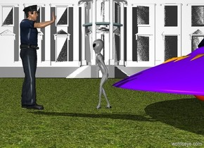 A trumpet is -4 inch right of the head of trump. The trumpet is facing right. the white house is 100 feet behind the alien. the alien is 2 feet right of a policeman. the ground is grass. the alien is facing the policeman. a spaceship is right of the alien. the policeman is facing the alien.