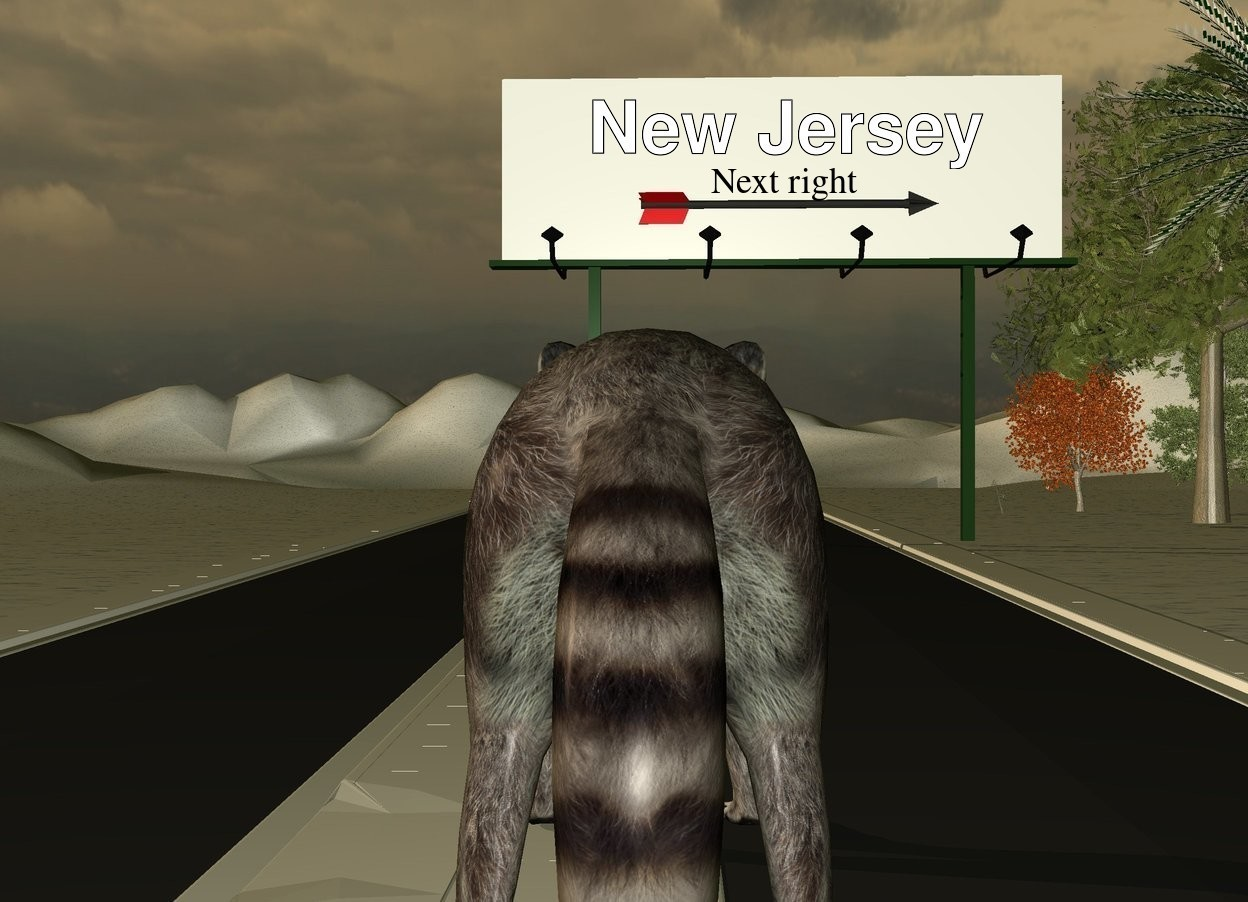 Input text: the 1st extremely long road is next to a 2nd extremely long road. the white billboard is on the 2nd road. the huge arrow is in front of and -7 feet above the billboard. it is facing right.  the tall [snow] ground. the huge raccoon is to the right of the 1st road. it is 42 feet in front of the billboard. it is facing back. it is dusk. the 3 small trees are to the right of the billboard. 3 very small trees are behind the small trees.