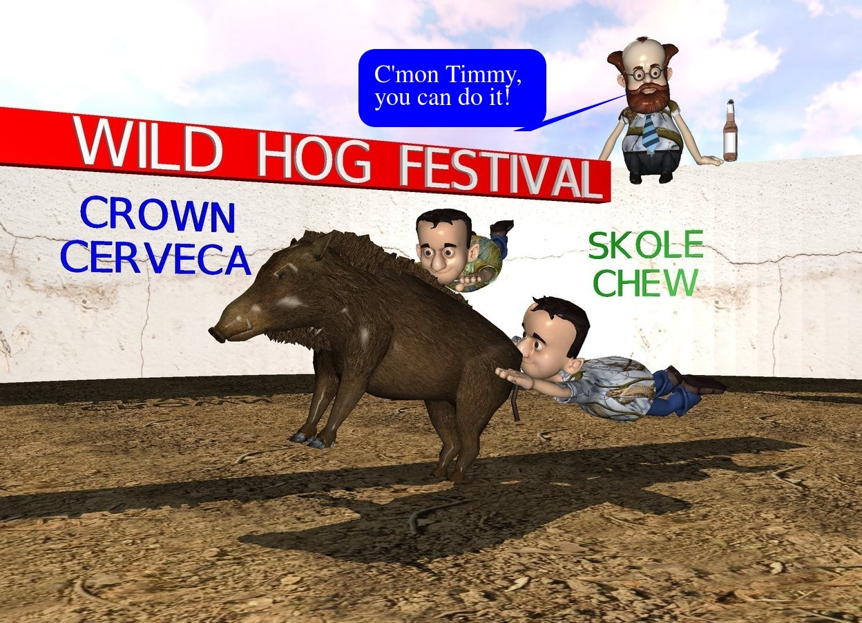 """Input text: a hog is -0.5 feet above the ground.it leans back. 1st boy is -3.8 feet above and -1.5 feet to the back of the hog. the boy leans 25 degrees to the left. the shirt of the 1st boy is 6 inch tall [pattern]. 2nd boy is -2.4 feet above and -2.3 feet behind and -0.1 feet left of the hog.the 2nd boy leans 23 degrees to the front. he faces southeast. the fat shirt of the 2nd boy is 5 inch tall [pattern]. the hog is -30 feet in front of a 60 feet wide and 8 feet tall [wall] tube.  the ground is dirt. a 6 inch tall and 14 feet wide and 2.5 feet thick red plank is -2.9 feet above and -23 feet to the left of the tube. it leans 90 degrees to the front. it faces right. a 0.9 feet tall """" WILD HOG FESTIVAL"""" is -12 inches above and 0.2 feet right of the plank. it faces right. a man is -1.2 feet above and -18 feet to the back of and -18 feet to the left of the tube. he faces southeast. he leans 17 degrees to the front. the shoe of the man is tan. the shirt of the man is 5 inch tall [pattern]. a 1 feet tall green """"SKOLE"""" is -8.5 feet above the man. it faces southeast.the 1 feet tall green """"CHEW"""" is -2.4 feet above the """"SKOLE"""". it faces southeast. the 1 feet tall blue """"CROWN"""" is -10 feet left of and -33 feet to the back of and -3 feet above the tube. it faces right. the 1 feet tall blue """"CERVECA"""" is -2.4 feet above the """"CROWN"""". it faces right. a large beer bottle is right of and -5.5 feet above the man. the sun is bisque."""