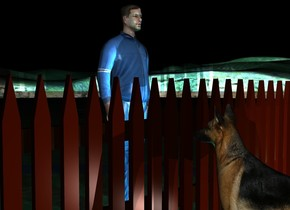 Behind a big fence is a big dog. 3 feet In front of the fence is a big man. The man faces the fence. 0 feet on the left side of the dog is a small light. It is night. Behind the dog is a light. Under the dog is a light. Behind the man is a big cyan light