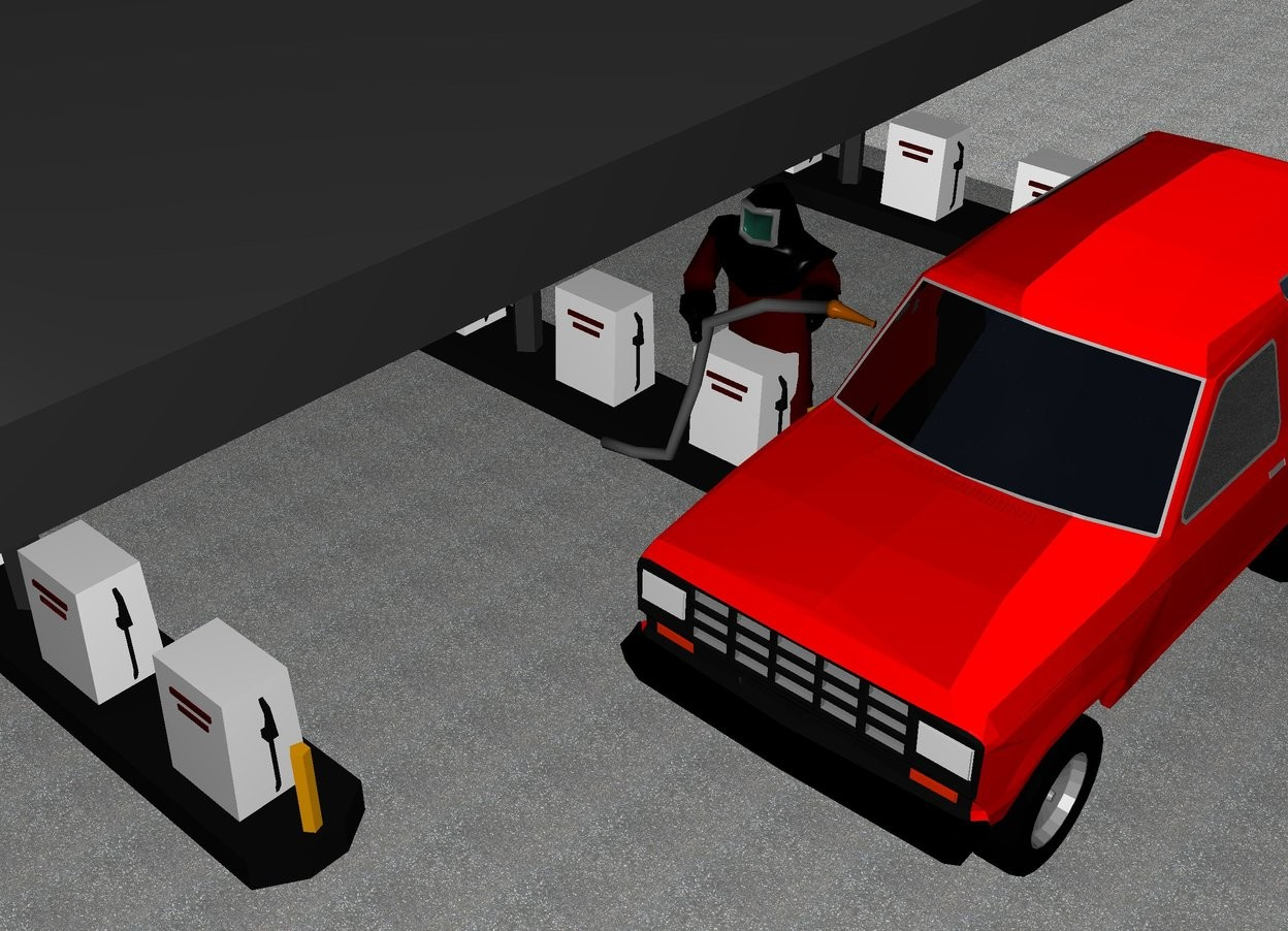 Input text: A gas station is 1 feet on the left of a red car.  The ground is pavement. On the left of the car is a man.