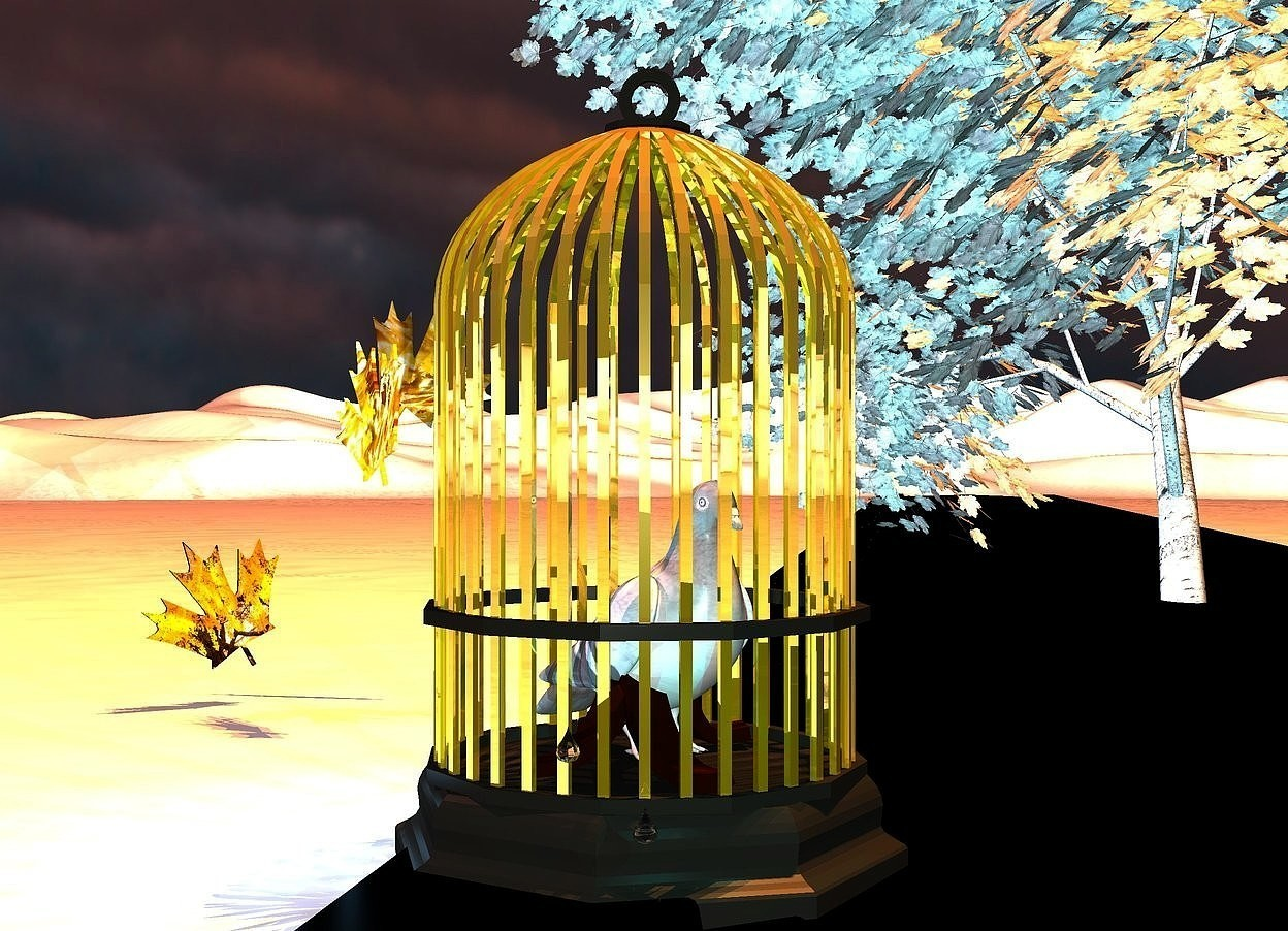 Input text: a 5 feet tall golden bird cage is -3 feet to the left of a  300 feet long black road. the base of the bird cage is [wood]. a large white pigeon is -4.3 feet above the cage. the pigeon faces southeast. a white poplar tree is 5 feet behind and -7 feet right of the bird cage. the tree is -4 feet above the ground.  3 old gold lights are -4 feet above and 1 feet to the front of the tree. the ground is snow. the sky is [weather]. 1st huge [autumn]leaf is 2 feet behind and 1 feet to the left of the cage. it is 2 feet above the ground. it faces southwest.it leans 24 degrees to the right. 2nd huge [autumn] leaf is 2.5 feet above the ground and 1 feet behind the 1st leaf. it leans 33 degrees to the left. 3rd huge [autumn] leaf is 3 feet behind and 3 feet left of the bird cage. it faces southeast. it leans 30 degrees to the right. 1st huge drop is -0.1 feet to the front of and -4.5 feet above and -2 feet left of the cage. 2 dim cyan lights are 0.2 inches  right of the 1st drop. 2nd huge drop is -4.1 feet above and -0.17 feet to the front of and -1.57 feet left of the cage. 2 pond blue lights are left of the cage. the sun is earth pink. a dim horizon blue light is 2 inches above the pigeon.