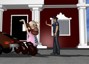 A  car is in front of a big bank. The car faces left. The ground is pavement. On the right of the car is a man.  On the left side of the man are 3 bags. The man faces southeast. On the right side of the man is a second man. The second man faces left.