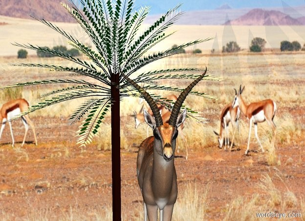 Input text: a 40 foot tall gazelle is to the right of a 55 foot tall and 40 foot wide date palm. a 60 foot tall and 100 foot wide wall is behind the gazelle. it is 100 foot wide [desert]. the ground is [desert]. it is noon. the sun is tangerine. a dim beige rose light is 10 feet above gazelle.