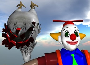 a small clown is on the ground. the upside down chicken is -10 inches to the right of the clown. the clown is facing back. the chicken is 1.7 feet above the ground. the tail of the chicken is red. the body of the chicken is white.