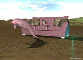 a bulldog is sitting on a pink sofa with cyan light 2 feet below the ground. a pink dolphin 2 feet in front of the sofa. with a 5 feet tall left side of the sofa