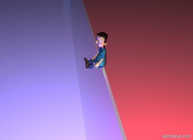 Input text: a 100 foot tall and 1000 foot wide glass wall. 2 blue lights are 50 feet in front of and -50 feet above the wall. 2 red lights are 50 feet behind and -50 feet above the wall. it is night. a large boy is above and -1.5 foot in front of the wall. a purple light is 2 feet above the boy. a linen light is to the right of the boy. 12 dodger blue lights are 10 feet to the left of the wall.