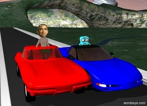 A red corvette and a blue corvette are on a road.The road is 500 foot long and wide. A man is 3 feet inside the red corvette. A woman is in the blue corvette.