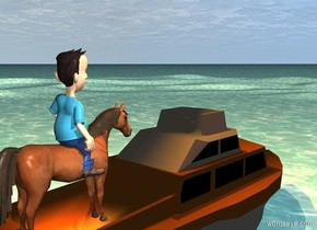 a boat. the ground is water. a 6 foot tall horse is -5 feet above and -8 feet behind the boat. a 6 foot tall man is -3.2 feet above and -2 feet to the left of the horse. a copper light is 10 feet above the boat. a tangerine light is 3 feet above and 5 feet in front of the horse. the ground is 6 feet tall.