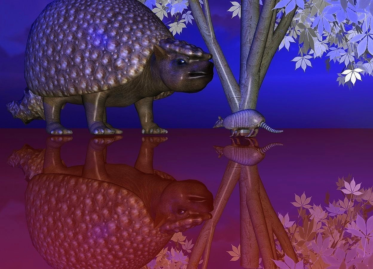 Input text: a dinosaur is behind an armadillo. it is facing the armadillo. the armadillo is facing the dinosaur. a tiny silver light is -1 feet in front of the dinosaur. the ground is shiny rust. the sun is blue. a white tree is -5 feet to the right of the dinosaur. it is 10 feet in the ground.