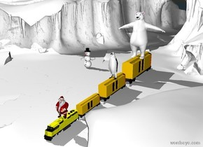 A 20 feet tall boxcar behind a 17 foot tall yellow locomotive. A second 30 feet tall boxcar behind the boxcar. A third 45 feet tall boxcar behind the boxcar.  A 100 feet tall polar bear is on the boxcar.  A 50 feet tall penguin on the second boxcar.  A 30 feet tall santa on the locomotive. A 50 feet tall snowman 100 feet left of the 45 feet tall boxcar.  The ground is snow