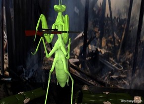 a 6 feet tall mantis.the mantis is face up.the mantis is leaning 12 degrees to the south.a rifle is -24 inches in front of the mantis.the rifle is 7.8 feet above the ground.the rifle is facing right.a flat wall is behind the mantis.the wall is 40 feet tall.the wall is [war].clear ground.the wall is 2 inches in the ground.a first man is right of the mantis.the first man is face up.a second man is left of the mantis.the second man is face up.the second man is facing northeast.a third man is right of the first man.the third man is face down.the third man is facing left.