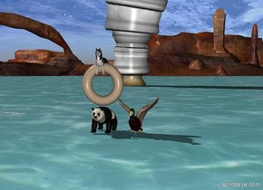 little duck on top of the ocean. A storm behind the duck. A tiny glass of water in front of the duck. A tiny panda next to the duck. There is a donut above the panda. There is a tiny dog in the donut
