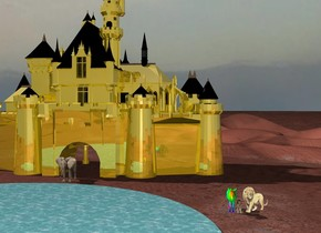A golden castle. The ground is blue. The sky is peach. An elephant in front of the golden castle. A donut in the sky behind the golden castle. A lake in front of the elephant. A lion. A lion next to the lion. A rainbow zebra.